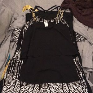 Gracie blouse size S black with gold chain straps